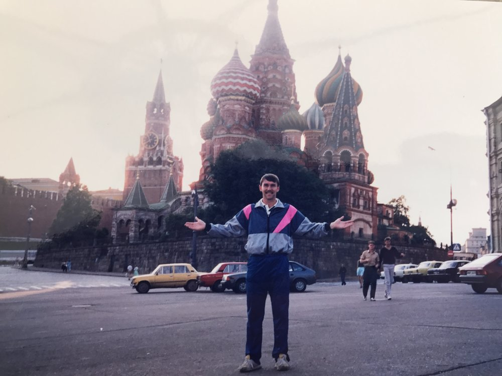 Taking in the culture and famous landmark St.Basil's Cathedral, Red Square, in Moscow, Russia, 1990 on tour with Wigan Athletic. Club tracksuit was in style back then !