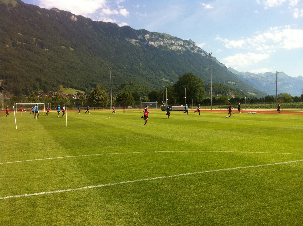 Surrounded by breathtaking scenery during pre-season training.  This is in beautiful Interlaken in Switzerland with Southampton in 2011.