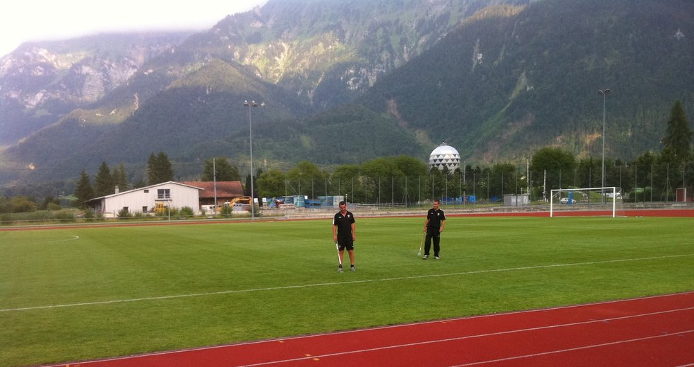 Head Groundsman Andy Gray played his part in Southampton's successful pre-season tour to Interlaken in Switzerland in 2011. He travelled over before the touring group to prepare the training pitches. This ensured the quality of the playing surface for the sessions required at the elite level.