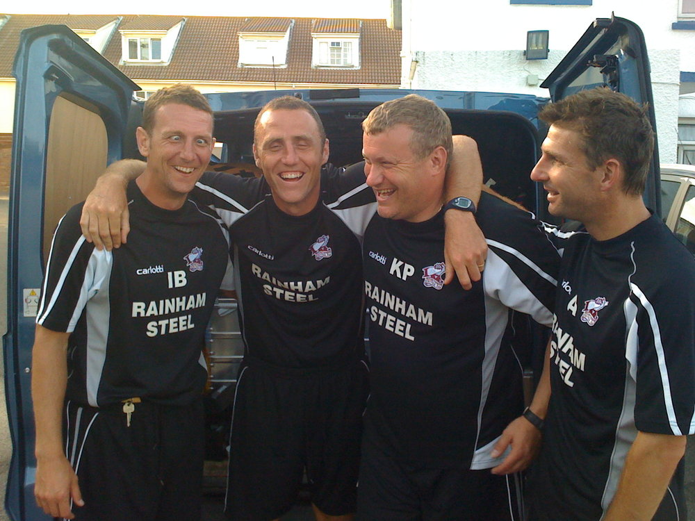 Camaraderie -Sharing a laugh on arriving in Jersey for Scunthorpe United pre-season tour, 2009. Against all the odds the foundations set for achieving the goal of staying in the Championship that season.  Ian Baraclough, Andy Crosby, Kevin Pressman and Alex Dalton.