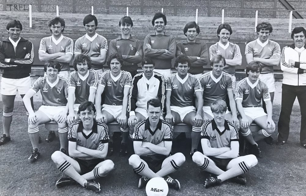 Tranmere Rovers 1st August 1981. Having just joined my local team as a 16 year old Apprentice, I'm in the goalkeeper shirt between Derek Mountfield and Dickie Johnson. 1st Year Professional Neville Powell sitting on the left.