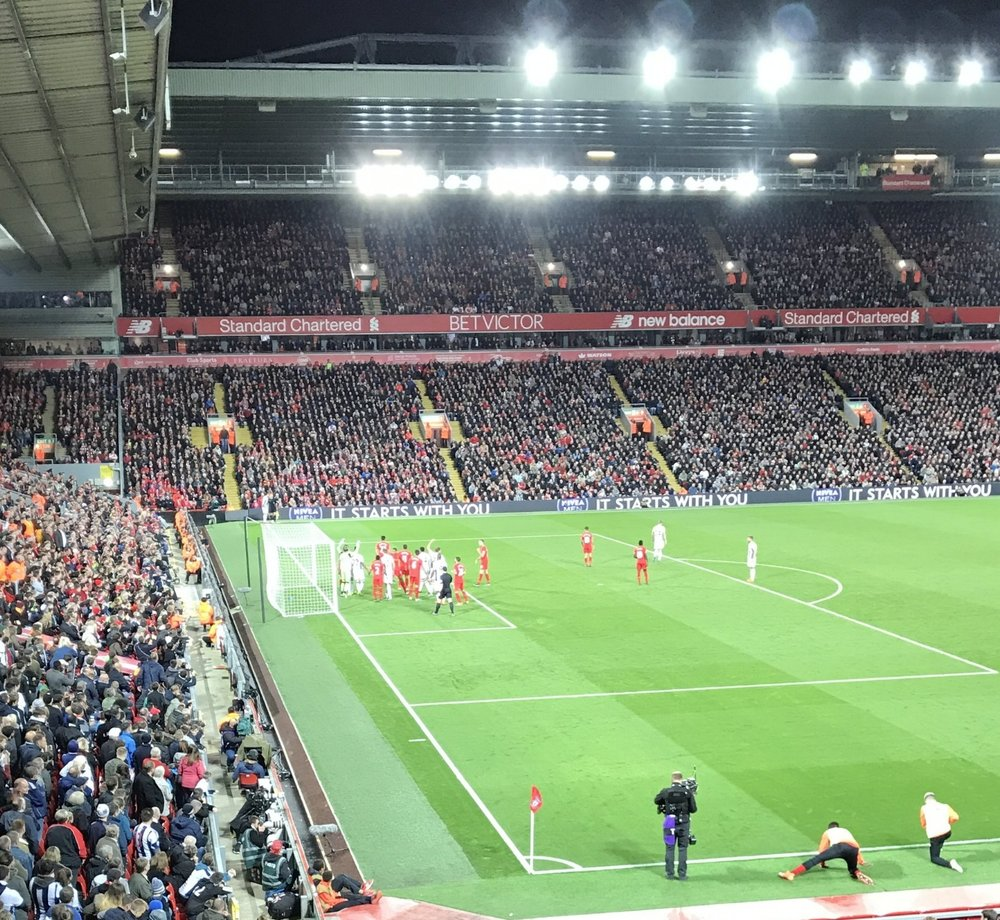 Liverpool defending zonal, an in-swinging corner, against a bigger West Bromwich Albion side.