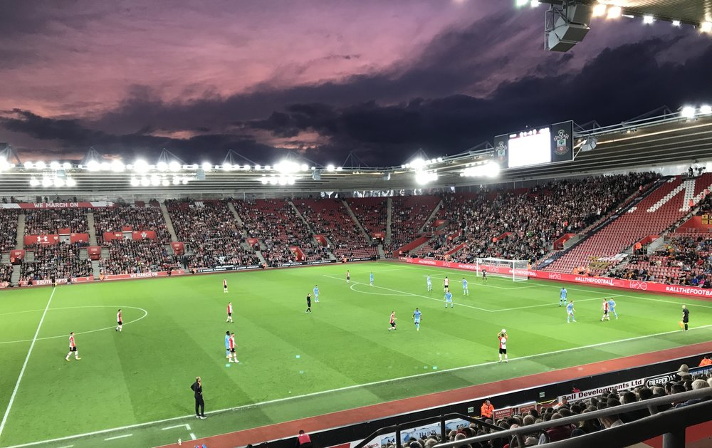 The sky at night. Southampton take a throw in at St.Marys against Wolves in the Carabao Cup 2nd Round.