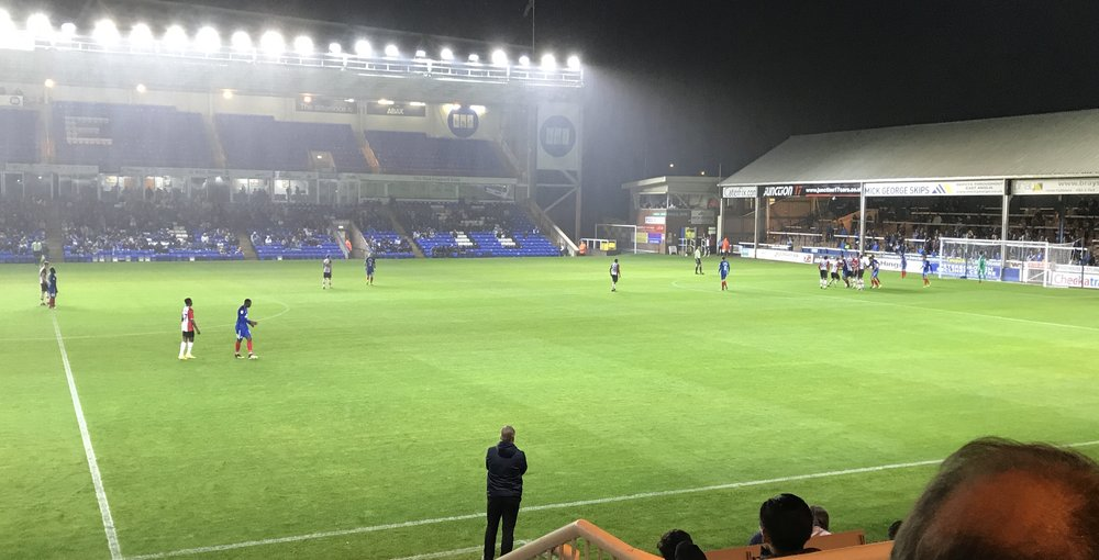 Peterborough United keeping 3 players up front whilst defending a corner against Southampton with Manager Grant McCann looking on from the Technical area.