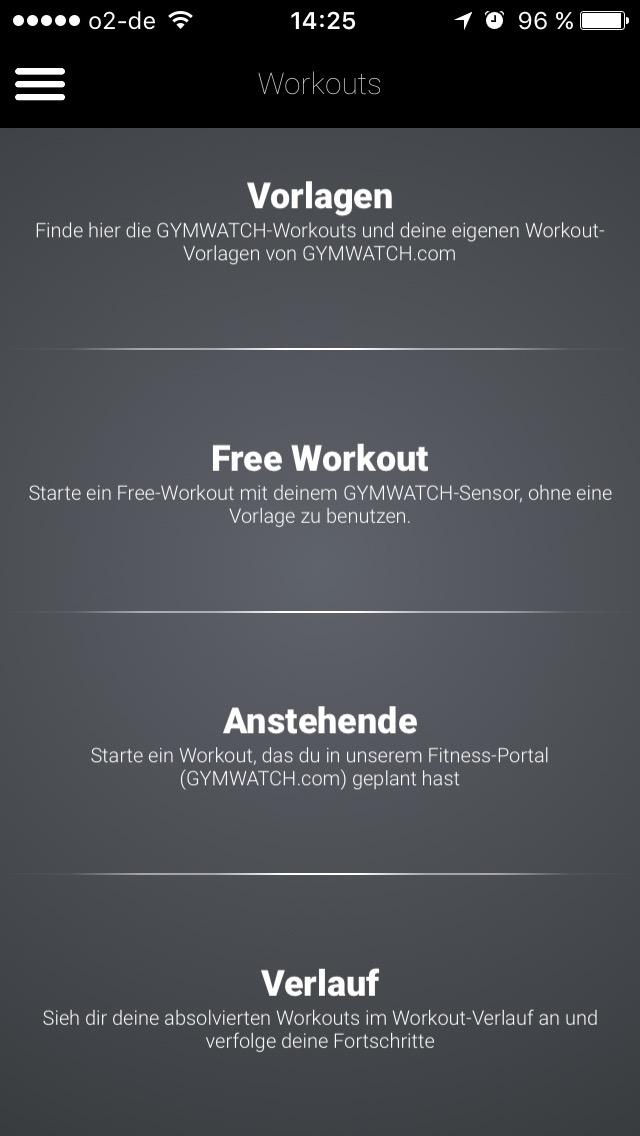 Das Workout aus Vorlagen oder frei starten
