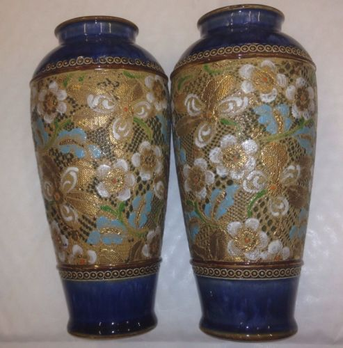 Vintage Pair Of Excellent Royal Doulton Vases Signed Mb 8922 9365 R