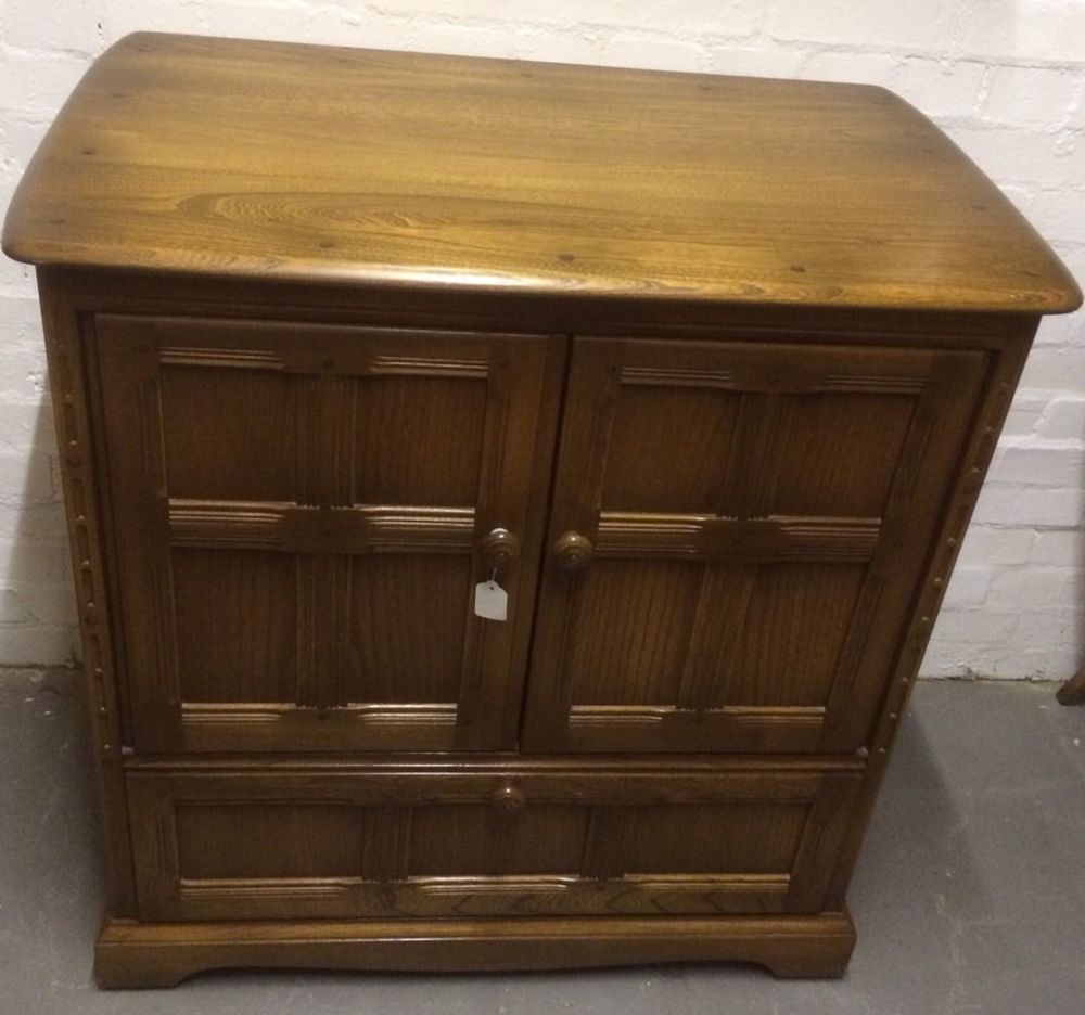 Vintage TV Cabinet Cupboard Drawer Elm Ercol Old Colonial Shabby Chic  Project
