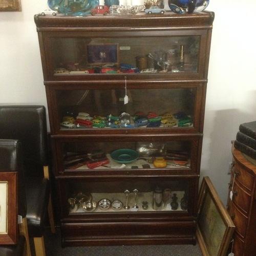 Antique Oak Globe Wernicke Stacking Bookcase Glass Sliding Doors