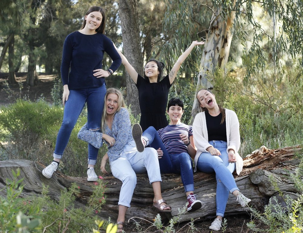 From left to right - Rach (Production Assistant), Tessa (Marketing Manager), Jess (Marketing Intern), Kat (Founder)  and Kim (International Trade Advisor)