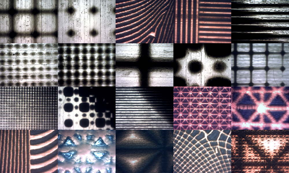 Composite of printed half-tone patterns taken at various magnification levels.