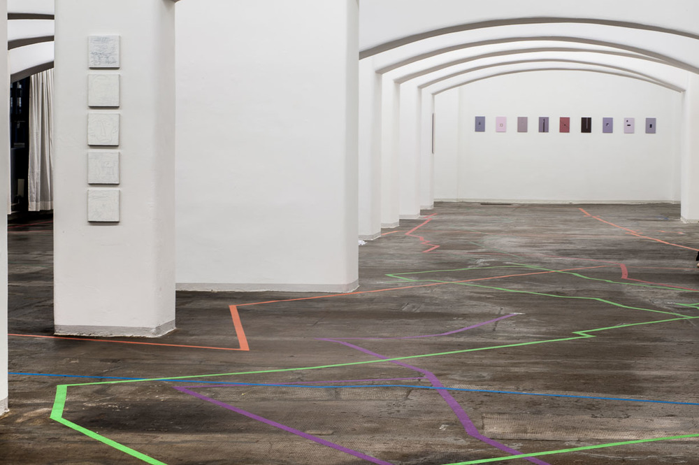 Exhibition view, with floor installation, WALK THE LINE by Javiera Advis, 2016, Städtische Galerie Reutlingen, 2016, Photo: Karl Scheuring, Reutlingen