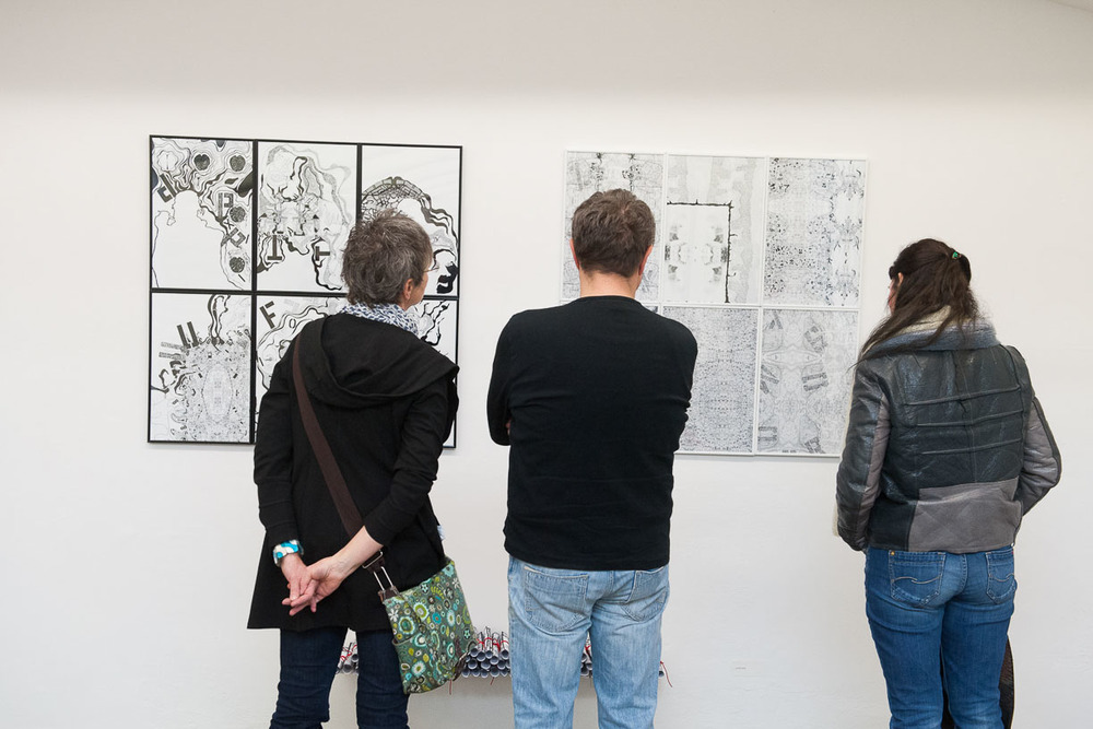 At the opening, Städtische Galerie Reutlingen, 2016, Artwork: Maggie Mc Cormick, Photo: Karl Scheuring, Reutlingen