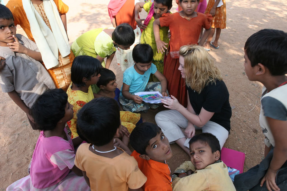 Ashley sharing Bible stories with Indian children at the orphanage at Banjara Tribal Ministries.