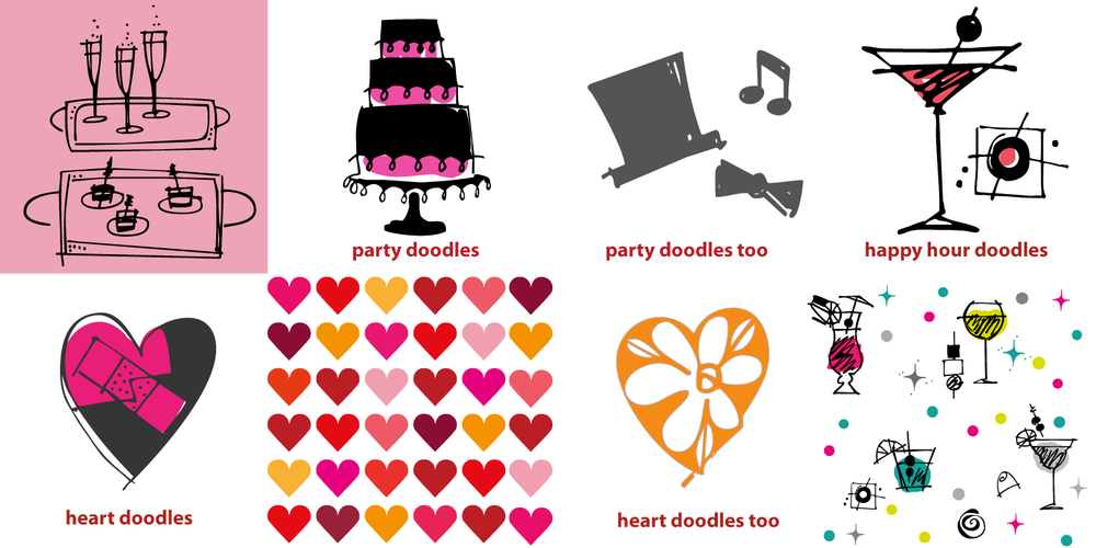 Party, Heart and Happy Hour doodles. Make your own Valentines and Party invitations.