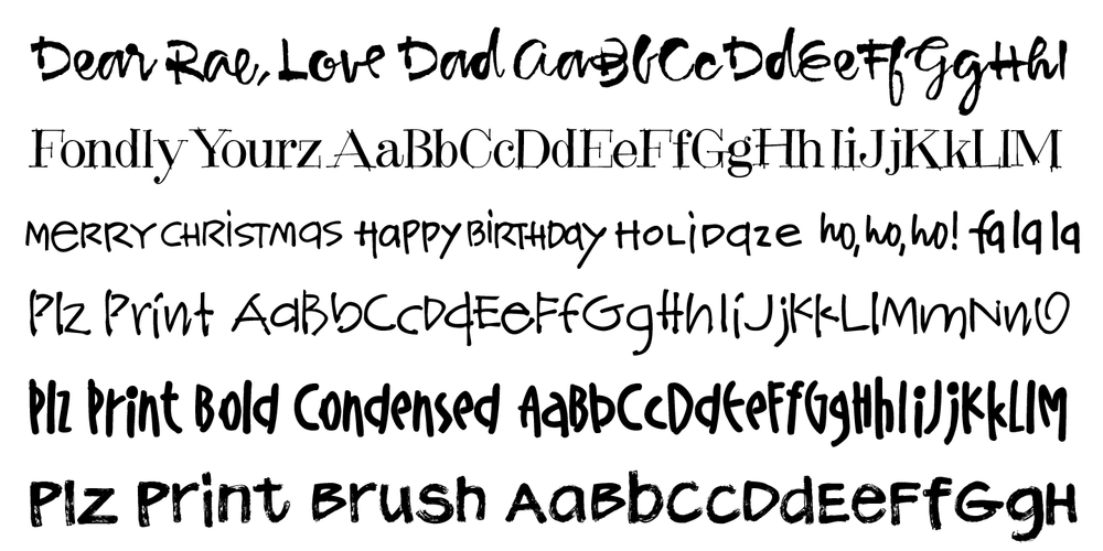 Hand drawn fonts from Outside the Line
