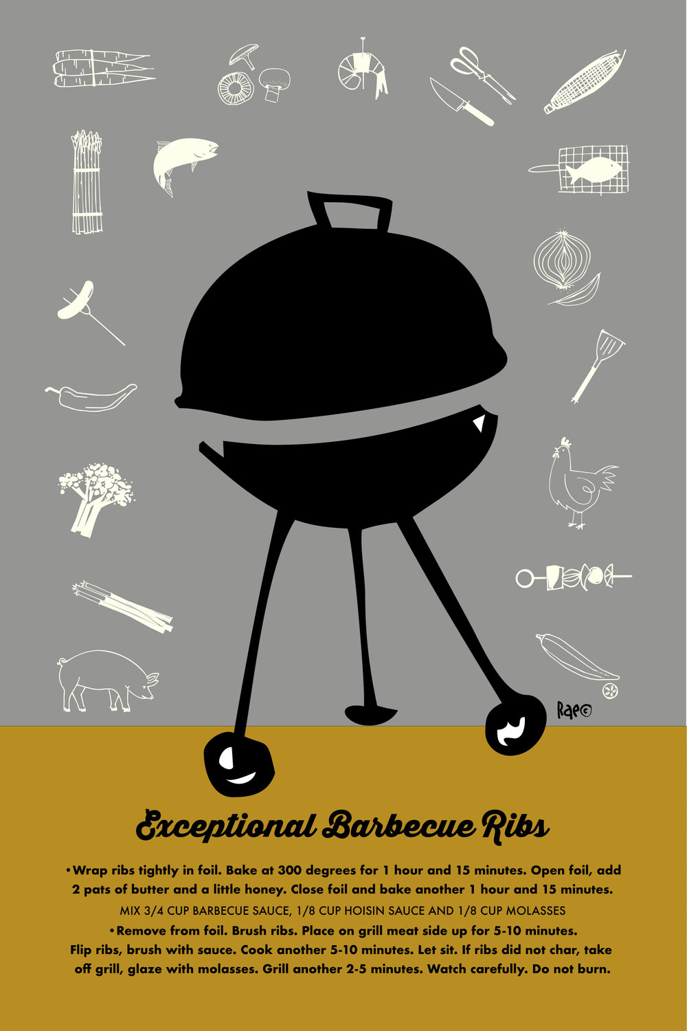 Barbeque Ribs dish towel by Rae Kaiser https://www.spoonflower.com/designs/7884844-exceptional-barbecue-ribs-dish-towel-by-outside_the_line