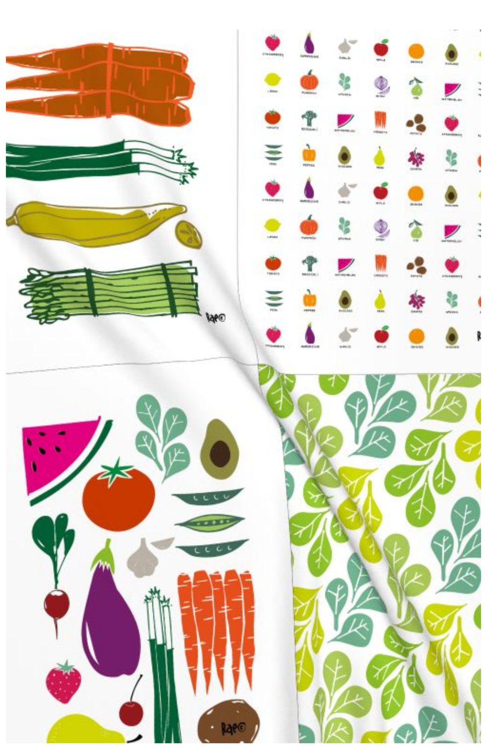 dishtowels from Spoonflower and Roostery