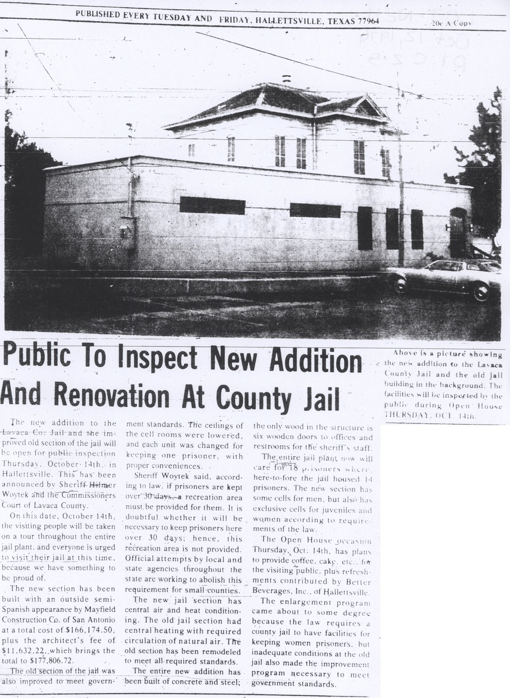 Lavaca County Jail, 1976