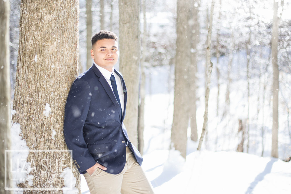 boys suit snow senior pictures