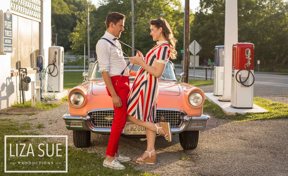 cleveland + akron vintage family photoshoot retro car 1950s engagement session
