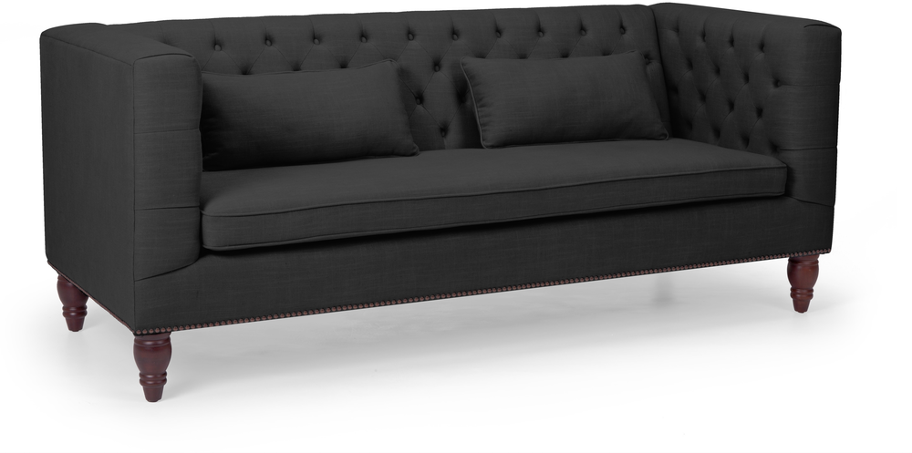 black button back three seater sofa