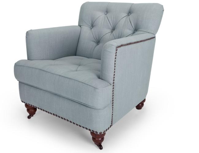 grey button back armchair