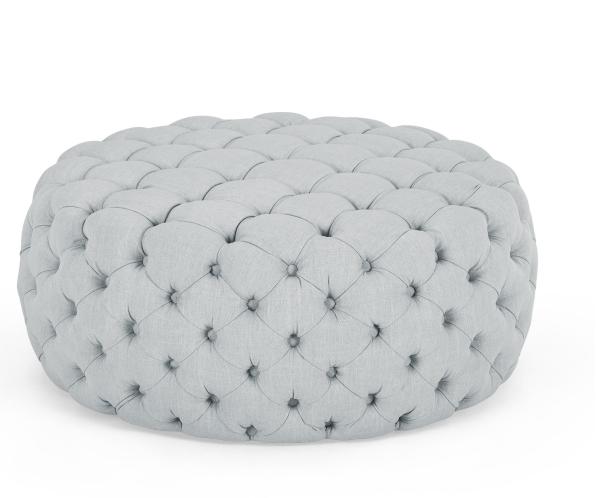 grey button back ottoman