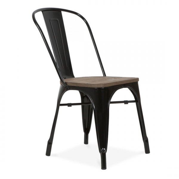 black cafe chair with elm seat