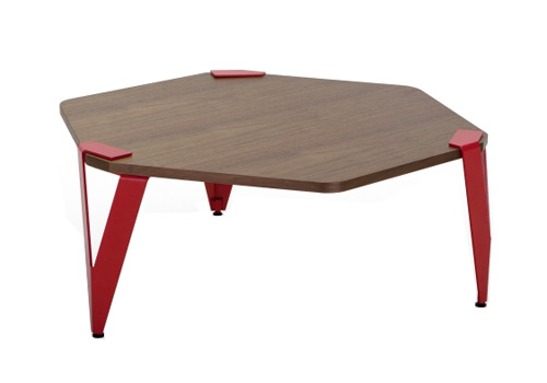 Hexagonal wooden table with red legs