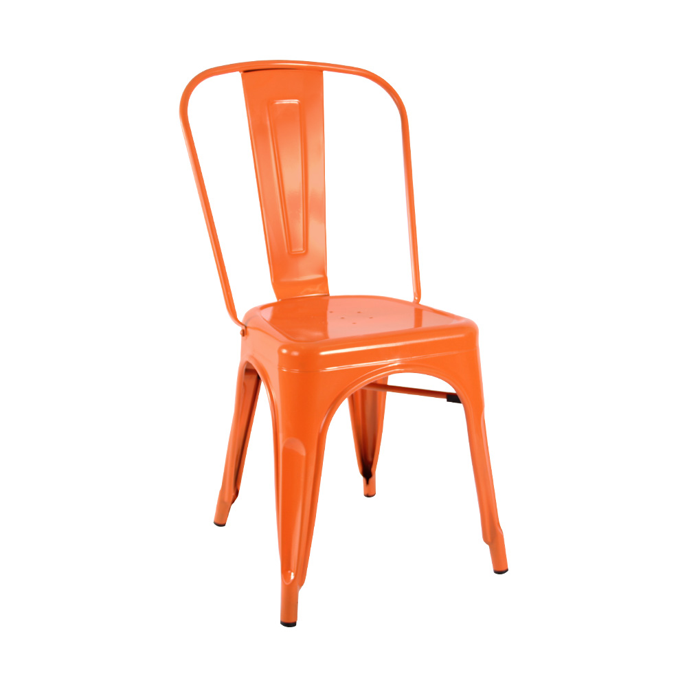 orange metallic cafe chair