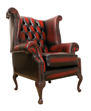 red leather effect wingback armchair