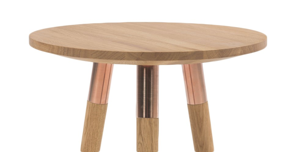 copper and wood side table