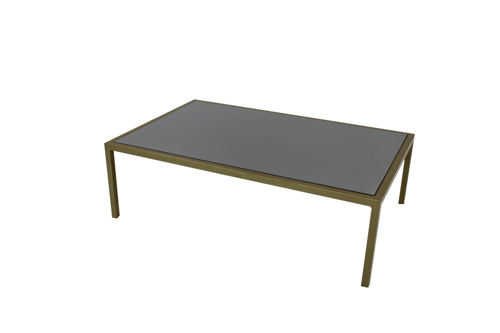 grey top with green frame coffee table