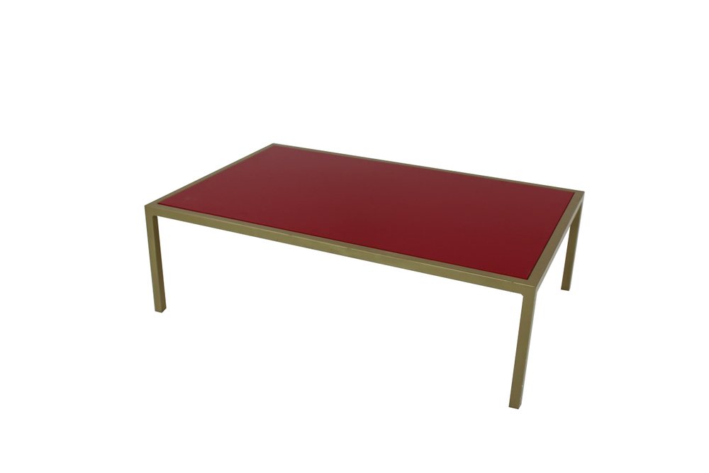 red top with green frame coffee table