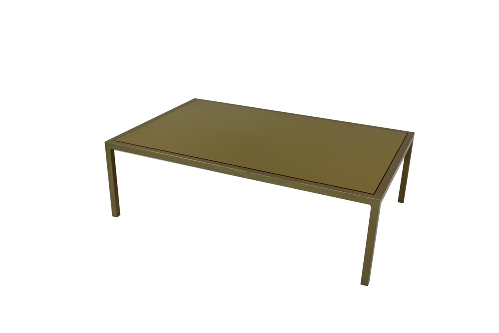 green top with green frame coffee table