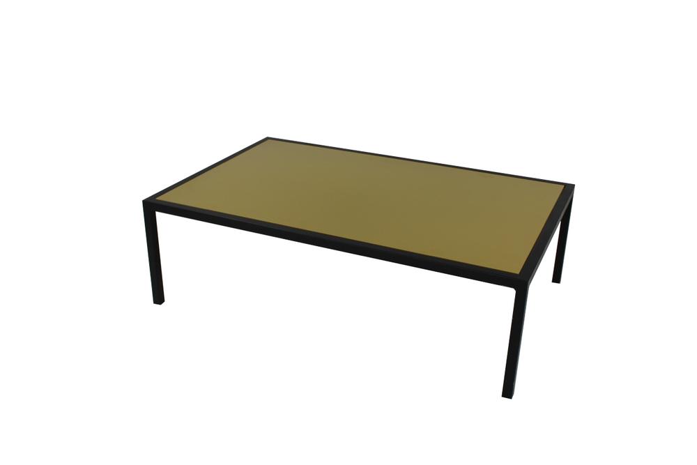 green top with black frame coffee table