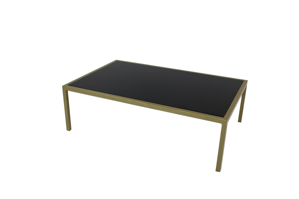 black top with green frame coffee table