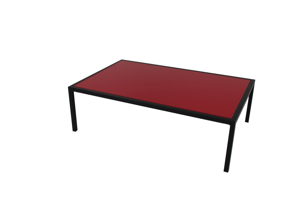 red top with black frame coffee table