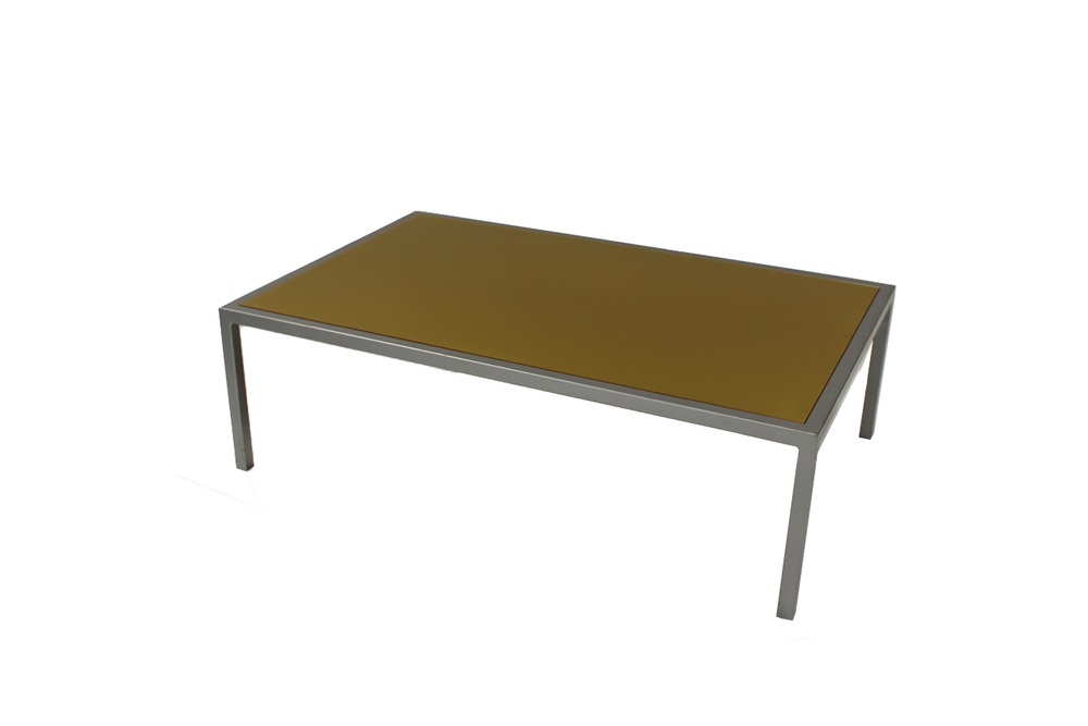 green top with grey frame coffee table