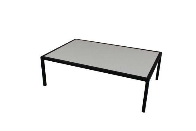 grey top with black frame coffee table