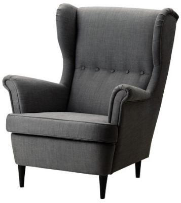 grey wingback armchair