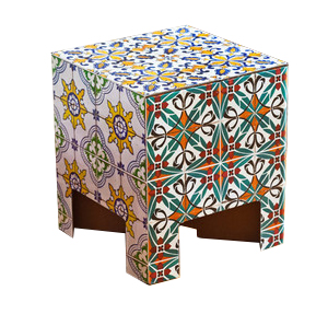 tiled cardboard stool