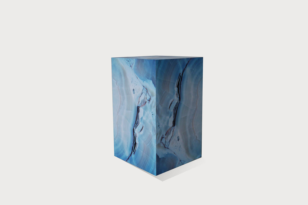Blue marble effect plinth