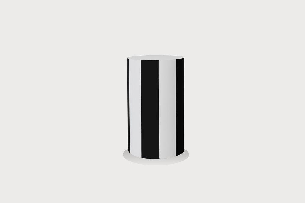 Black and white striped plinth