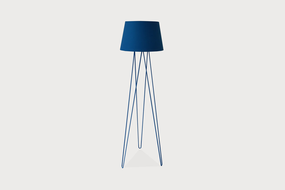 Cobalt hairpin floor lamp