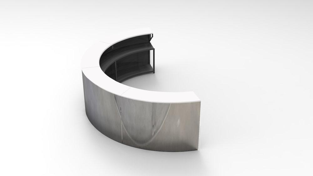 Semi-circle white top