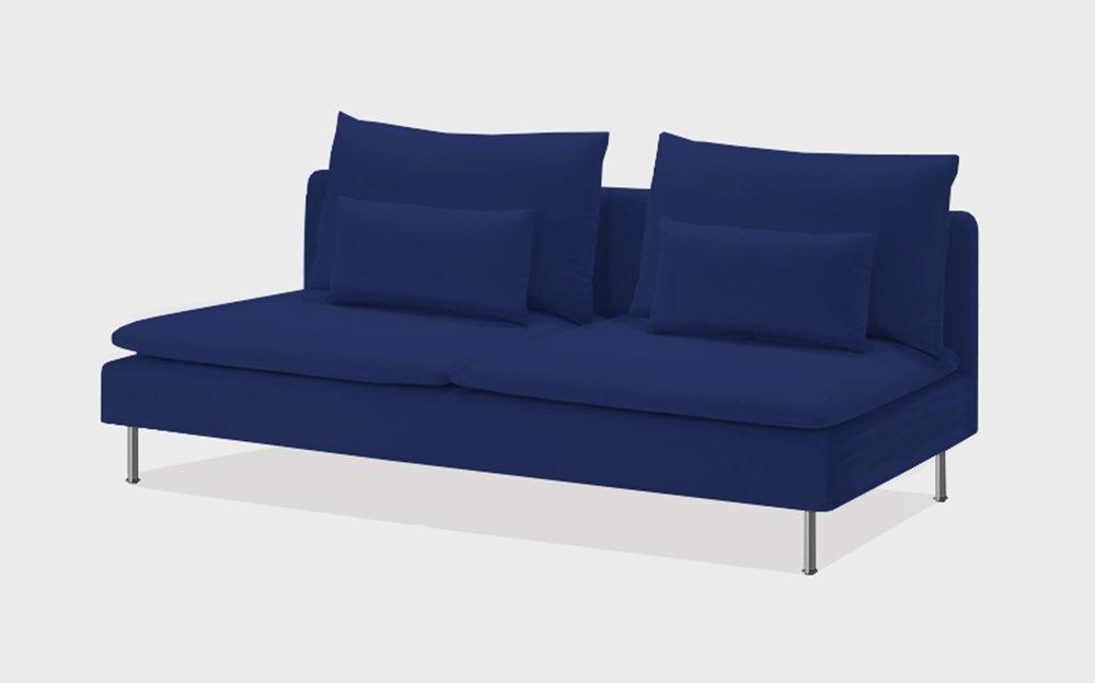 Cobalt velvet sofa