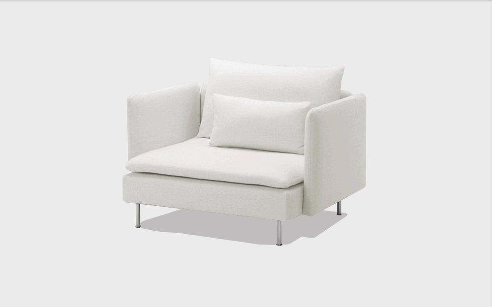 White cotton armchair