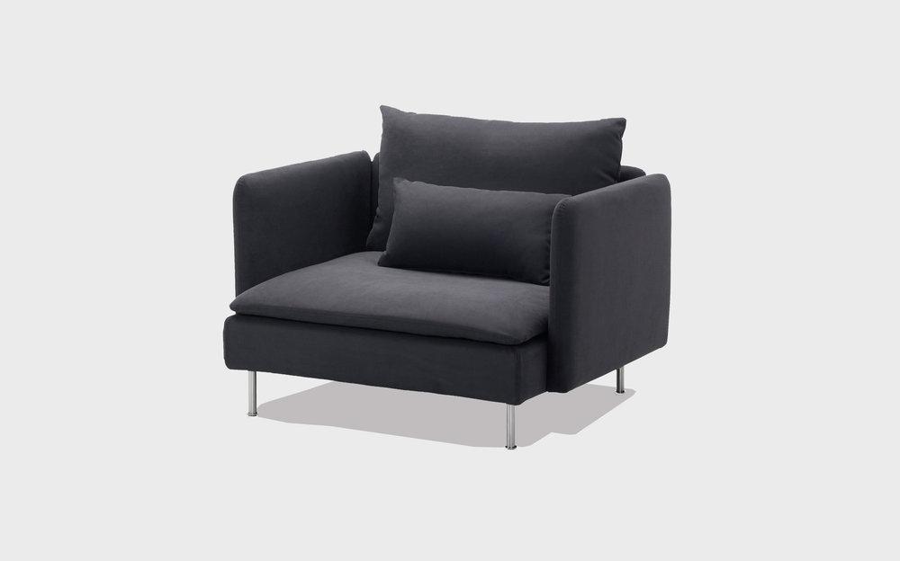 Grey cotton armchair