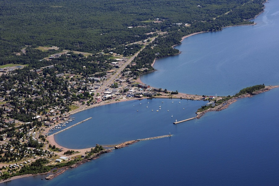 Bird's-eye-view of Grand Marais, MN